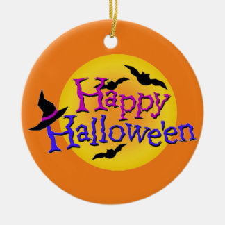 Happy Halloween text with bats and witch hat Ceramic Ornament