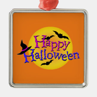 Happy Halloween text with bats and witch hat Metal Ornament