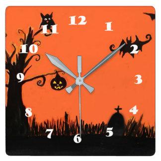 Happy Halloween Tree Pumpkin  Square Wall Clock