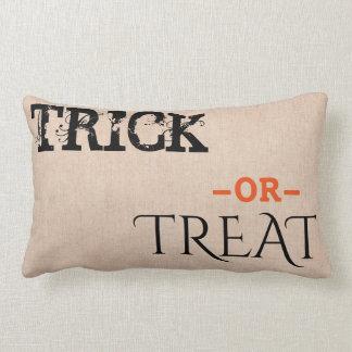 Happy Halloween Trick or Treat Burlap Lumbar Pillow