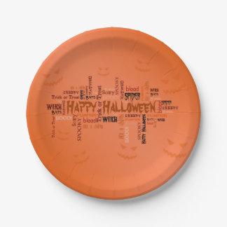 Happy Halloween Typography - Paper Plate