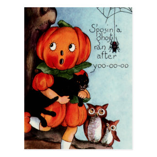 Happy Halloween Vintage Illustration Postcard