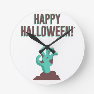 Happy Halloween Walking Dead Zombie Corpse Design Round Clock