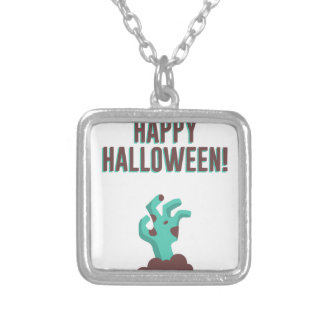 Happy Halloween Walking Dead Zombie Corpse Design Silver Plated Necklace
