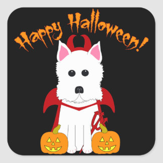 Happy Halloween Westie Devil Stickers