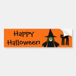 Happy Halloween Witch and Cat Bumpersticker Bumper Stickers