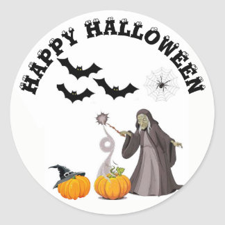 Happy Halloween Witch and Pumpkins Stickers