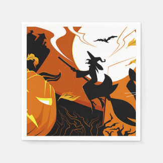 Happy Halloween witch, bats and pumpkins Disposable Napkins