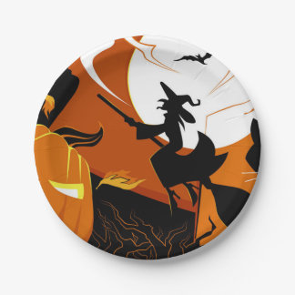 Happy Halloween witch, bats and pumpkins Paper Plate