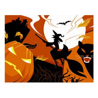 Happy Halloween witch, bats and pumpkins Postcard
