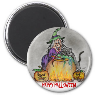 Happy Halloween witch cat Magnet