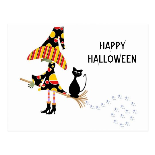 Happy Halloween Witch & Cat Postcard
