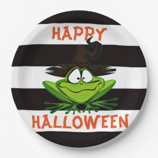 Happy Halloween Witch Frog Paper Plate