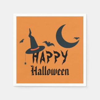 Happy Halloween Witch Hat Bats Moon Orange Black Disposable Napkin