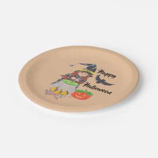 Happy Halloween witch paper plates