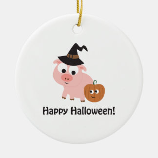 Happy Halloween! Witch Pig Round Ceramic Ornament