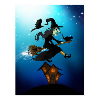 Happy halloween! Witch Riding to Broomstick Postcard