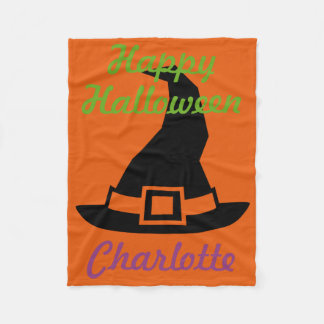 Happy Halloween Witch's Hat on Orange Personalized Fleece Blanket