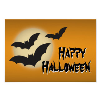 Happy Halloween with Bats and Moon Poster
