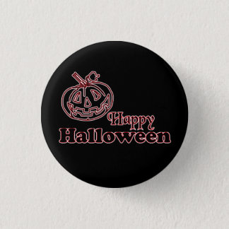 Happy Halloween with Carved Jack O Lantern 1 Inch Round Button
