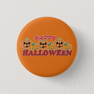Happy Halloween with Carved Jack O Lanterns 1 Inch Round Button