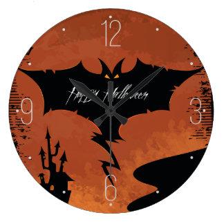 Happy Halloween with devil bat Wall Clock