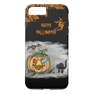Happy Halloween with Ghost Cat Bat Pumpkin iPhone 7 Plus Case