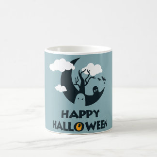 Happy Halloween with moon and graveyard Coffee Mug
