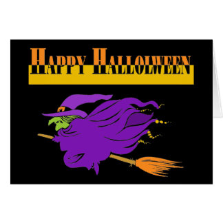 Happy Halloween with Purple Witch Card