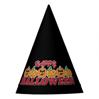 Happy Halloween with Row of Happy Pumpkins Party Hat