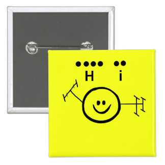 "Happy Ham Yellow  Morse Code ""Hi"" Button"