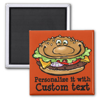 Happy Hamburger Funny BBQ Barbecue Grill Customize Magnet