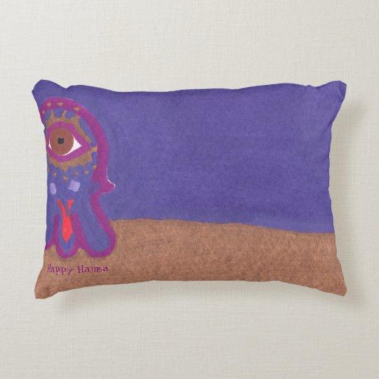 Happy Hamsa Goes Out at Night by Ashira Malka Decorative Pillow