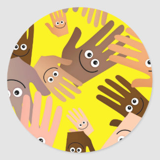 Happy Hands Wallpaper Classic Round Sticker