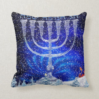 Happy Hannukah Snow Pillow