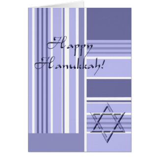Happy Hannukah-Stripes with Star of David Card