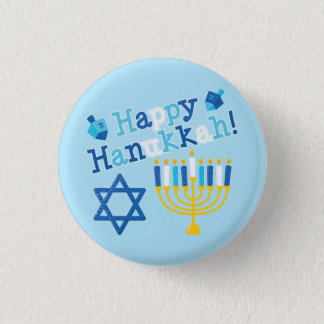 Happy Hanukkah 1 Inch Round Button