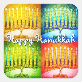 """Happy Hanukkah"" 4 colorful artsy menorahs photo Square Sticker"