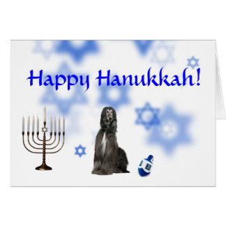 Happy Hanukkah afghan hound Card