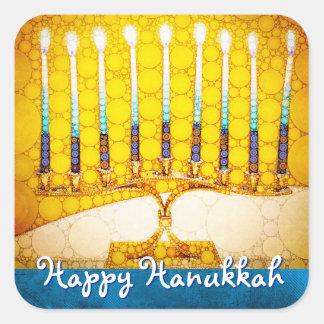 """""""Happy Hanukkah"""" Artsy Yellow & Gold Menorah Photo Square Sticker"""