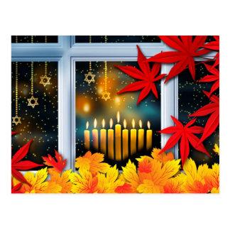 Happy Hanukkah! Autumn Leaves Design Postcards