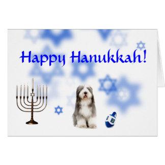 Happy Hanukkah Beared Collie Greeting Card