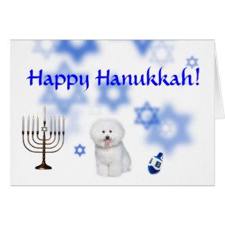 Happy Hanukkah Bichon frise Greeting Card
