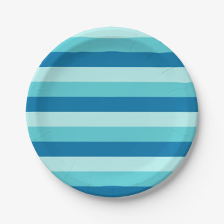 Happy Hanukkah | Blue and Teal Striped Pattern Paper Plate