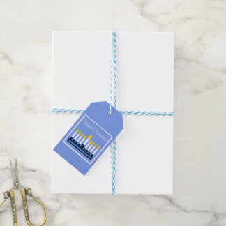 Happy Hanukkah Blue and White Menorah Pack Of Gift Tags