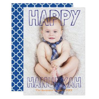 Happy Hanukkah Blue Block - 3x5 Hanukkah Card