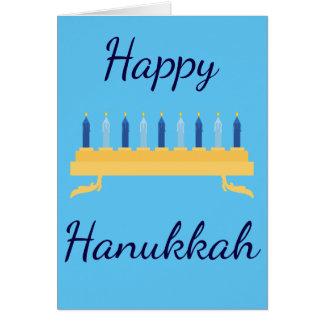 Happy Hanukkah Blue Menorah Card
