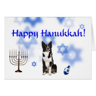 Happy Hanukkah Border Collie Greeting Card