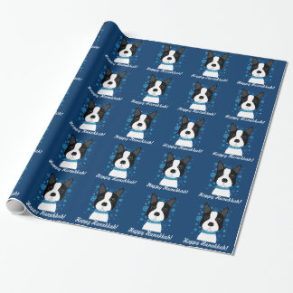 Happy Hanukkah Boston Terrier Wrapping Paper
