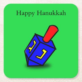 Happy Hanukkah bright dreidl green coasters